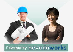 Powered by Nevada Works - Service Providers graphic - male civil engineer & female office worker.